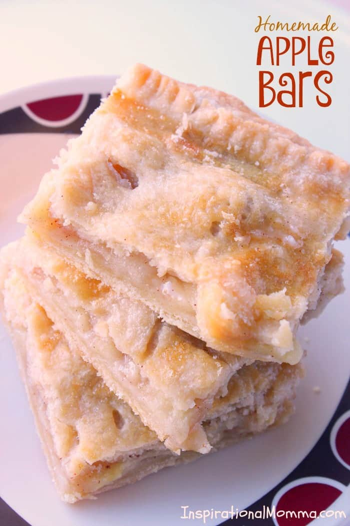 Homemade Apple Bars - A delicious homemade dessert with fresh apples layered on top of a light, flaky crust. #InspirationalMomma #HomemadeAppleBars #AppleBars #Desserts #Dessert #Homemade