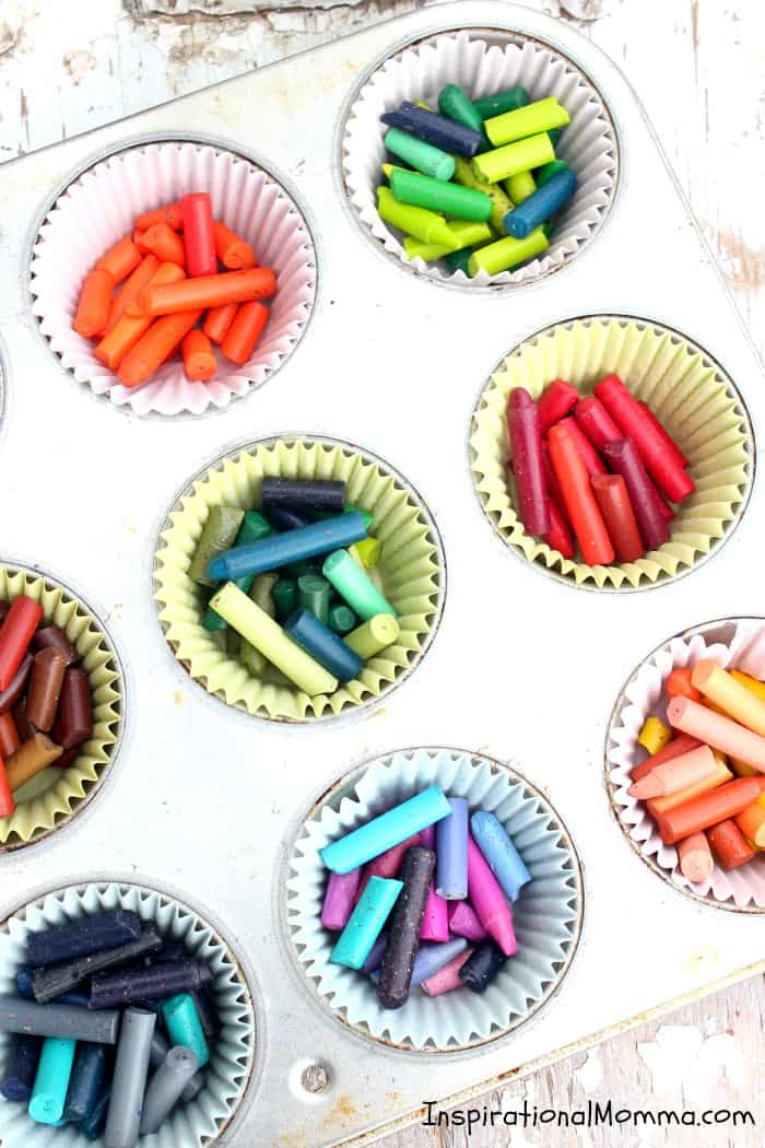 Recycled Crayons - Don't throw those used and abused crayons away! Bring them back to life! These are so fun and easy to create! Anyone can do it! #InspirationaMomma #RecylcedCrayons #DIY #Upscale #Recycle #Craft #Crayons #Kidscraft