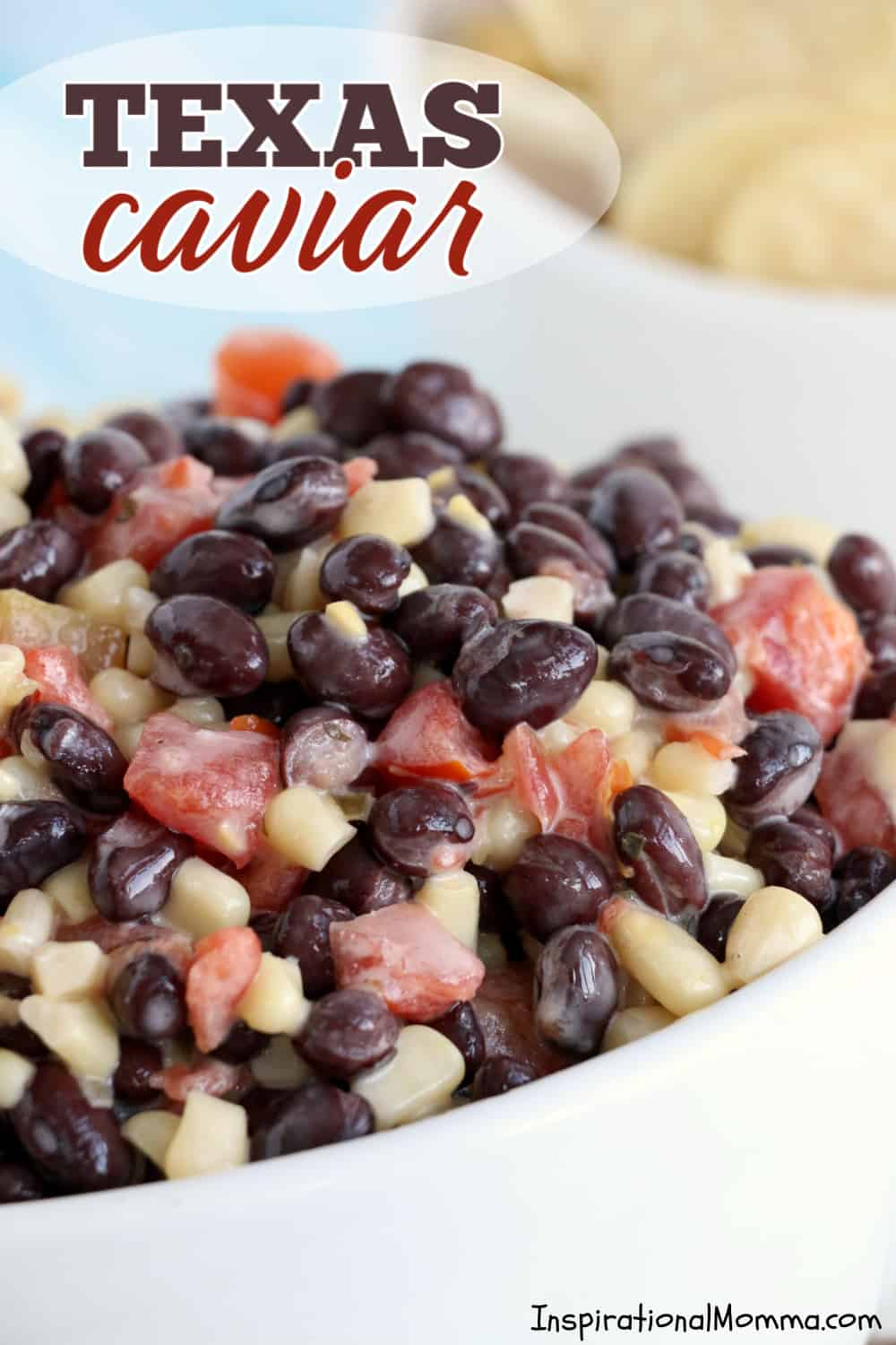 This quick, easy Texas Caviar appetizer is a flavorful bean dip with so many textures that it is sure to please everyone! #inspirationalmomma #cowboycaviar #appetizer #partyfood