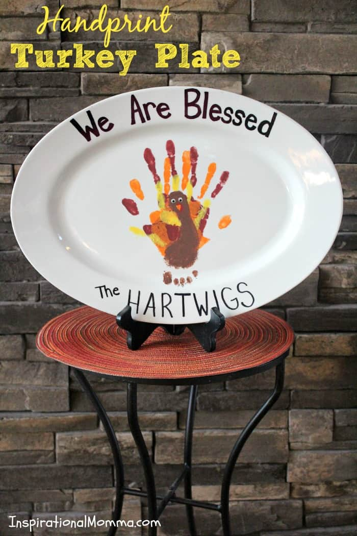 This Handprint Turkey Plate not only has a piece of each of our children on it, it also makes a statement about our family. We truly are blessed!