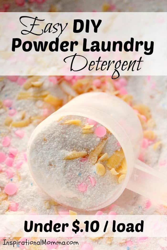 This homemade Easy DIY Powder Laundry Detergent will not only leave your laundry clean and fresh, but it will also have you smiling at the cost!