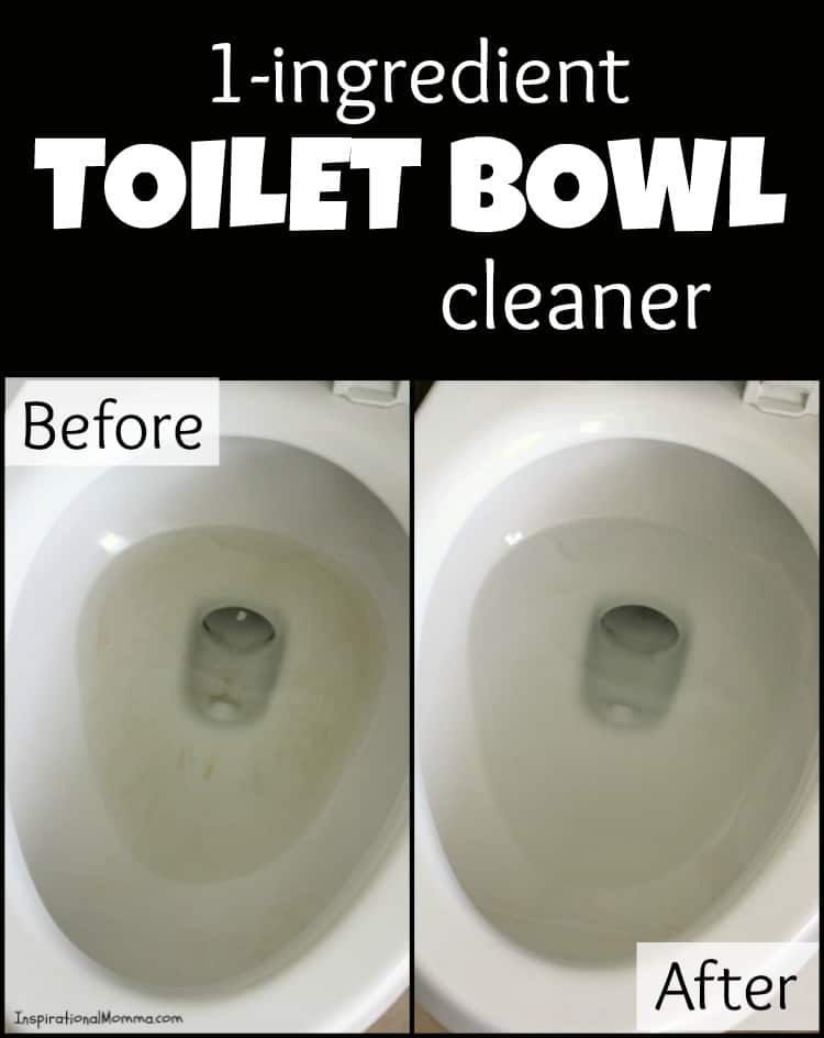 You will be absolutely amazed at this 1-Ingredient Toilet Bowl Cleaner. Let it soak and wipe it away to find a sparkling and clean toilet bowl! #inspirationalmomma #toiletcleaner #diycleaner #toilet #toiletbowlcleaner