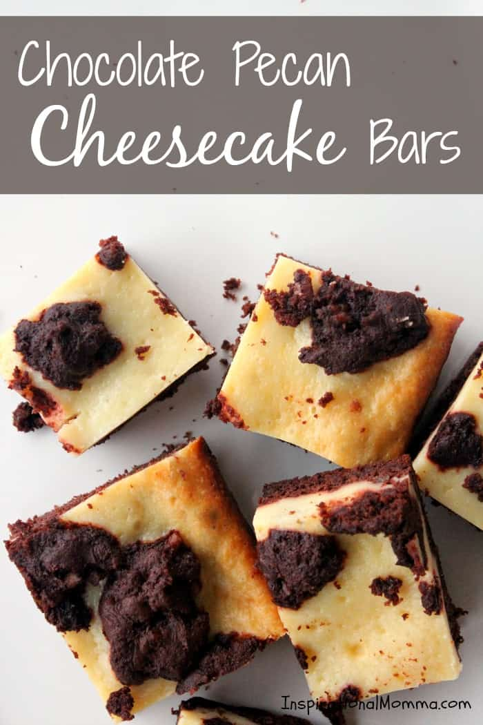 These Chocolate Pecan Cheesecake Bars are a perfect blend of sensational chocolate and a cream cheese filling that will satisfy your sweet tooth!