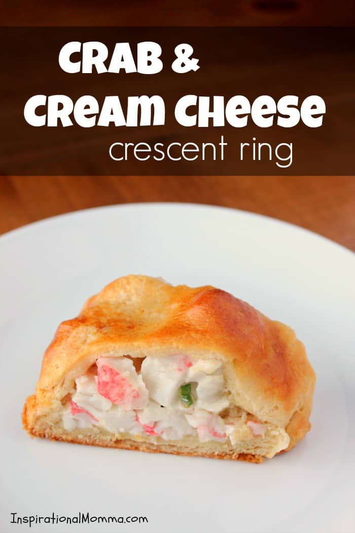 With crispy, flaky crescent rolls filled a delicious crab and cream cheese mixture, this Crab & Cream Cheese Crescent Ring is simple and scrumptious! #inspirationalmomma #crab #creamcheese #crescentring #easydinner #seafood