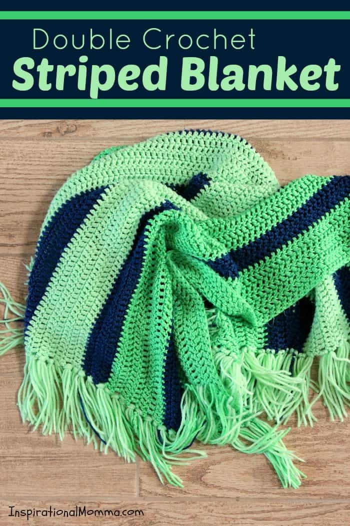 This Double Crochet Striped Blanket is a perfect project for any crocheter! Using only a double crochet stitch, it is so simple, anyone can do it!