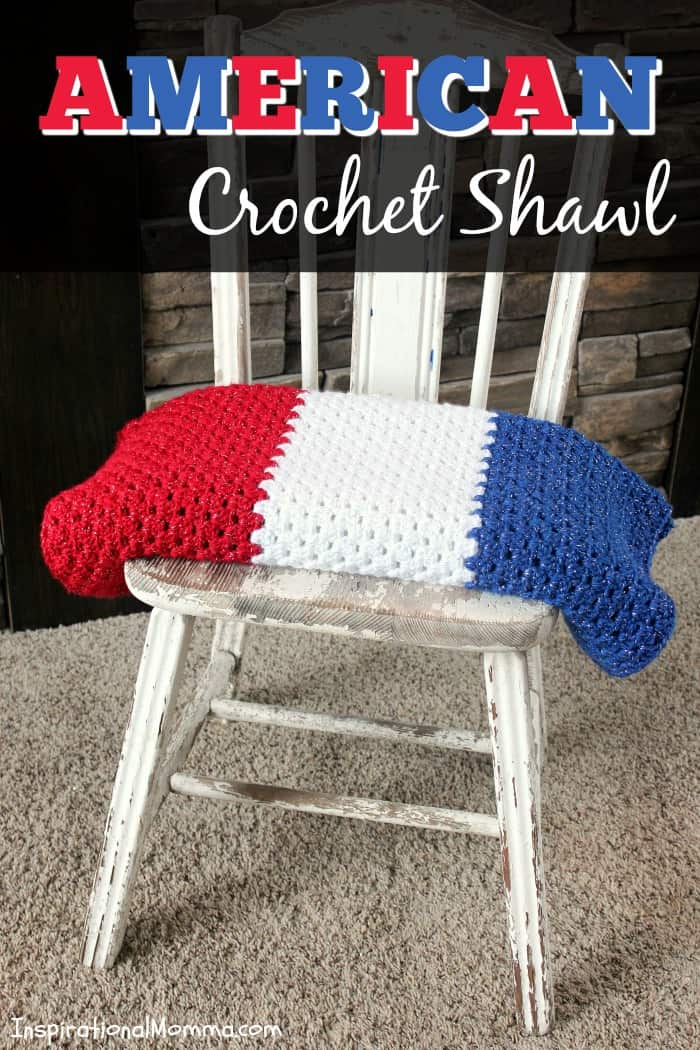 Show your patriotic pride with this beautiful American Crochet Shawl, a perfect project for developing crocheters.