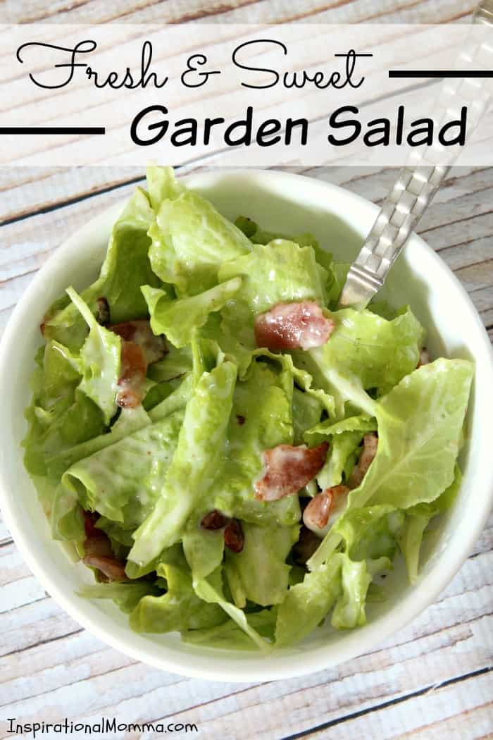 This Fresh and Sweet Garden Salad has a perfect combination of ingredients! Crisp lettuce, bacon, and onions smothered in a creamy, sweet sauce!