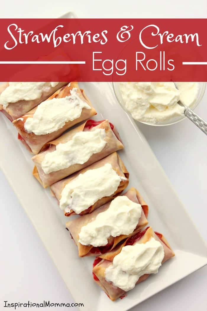 Sweet strawberries wrapped in a crispy, baked egg roll and topped with homemade whipped cream! This is a simple, decadent dessert that is sure to impress!