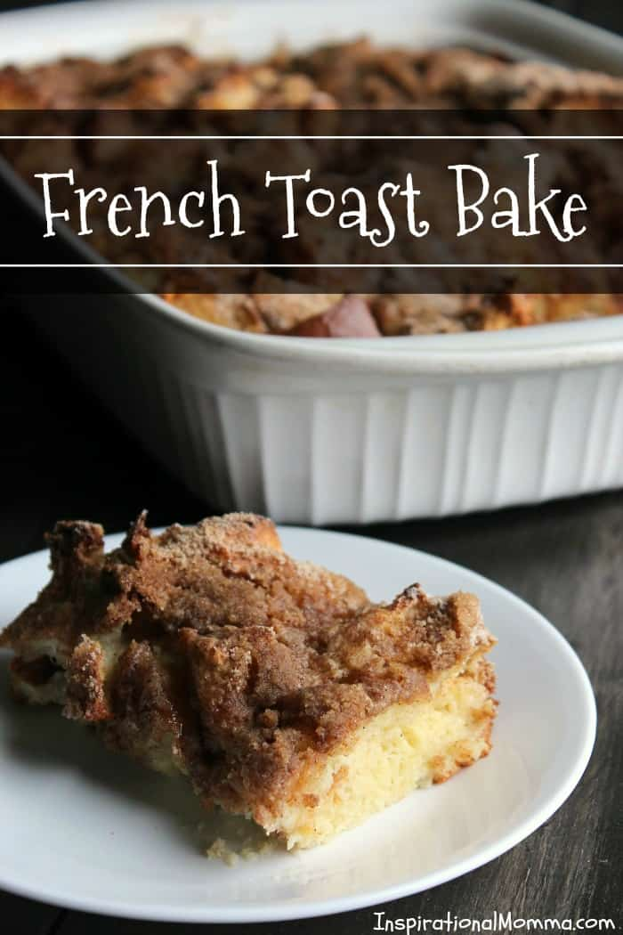 This French Toast Bake is delicious morning, noon, and night! Soft, delicious bread topped with a sweet, crunchy topping will have you making this again and again!