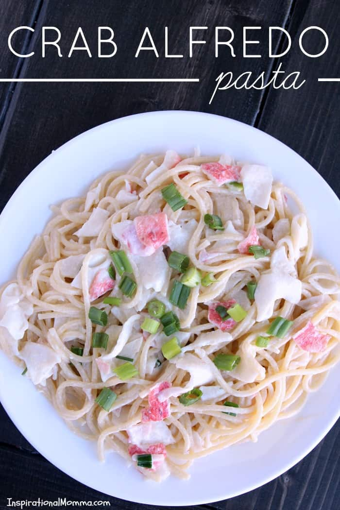 This Crab Alfredo Pasta is easy to make and even easier to enjoy! Sweet crab smothered in a creamy sauce served over a bed of pasta...absolutely delicious!
