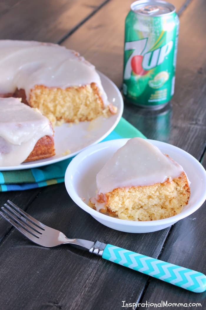 This 2-Ingredient 7UP Cake is easy and delicious! Then, topped with Cream Cheese 7UP Icing, it becomes irresistible! #JustAdd7UP #iinspirationalmomma #2ingredientcake #easycake #7up #dessert #desserts #recipe
