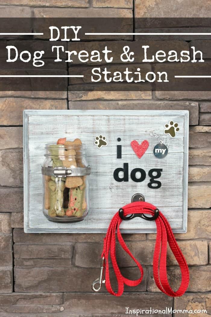 DIY Dog Treat & Leash Station