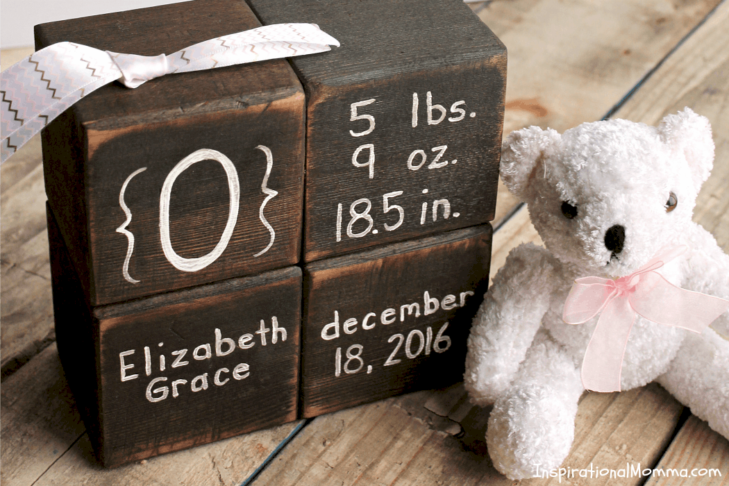 Create Wooden Keepsake Baby Blocks for a new bundle of joy in your life. This DIY project will document all the specials facts about that little miracle!