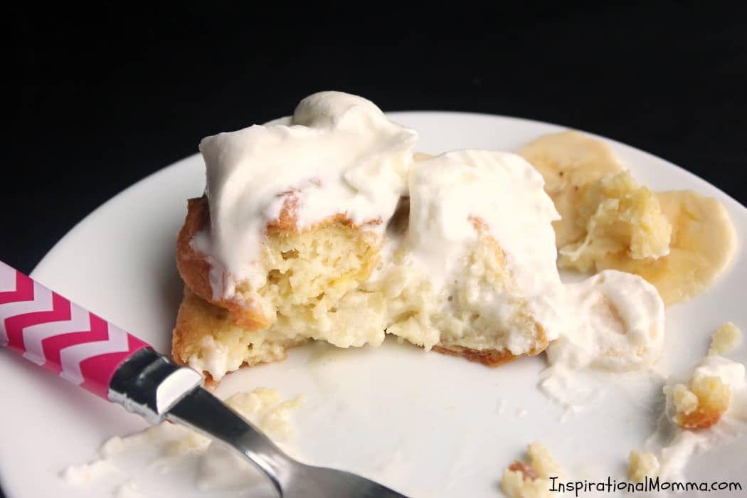 Light and fluffy Homemade Cream Puffs are smothered with homemade whipped cream and topped with sliced bananas. Easy to make and even easier to enjoy!