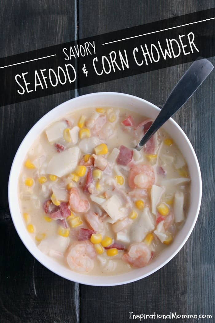 Savory Seafood & Corn Chowder is creamy and loaded with flavorful meats. It is a sensational comfort food that will warm your heart and fill your belly!