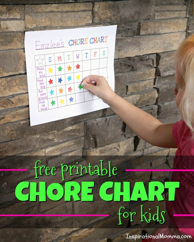 Free Printable Chore Chart For Kids - Motivate your child with this easy tool and always be sure to reward with a sweet treat! #KempsLocallyCrafted