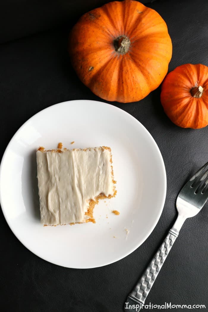 Easy & Delicious Pumpkin Bars are simple to make and even easier to enjoy! Moist bars covered in cream cheese frosting are perfect anytime of the year!