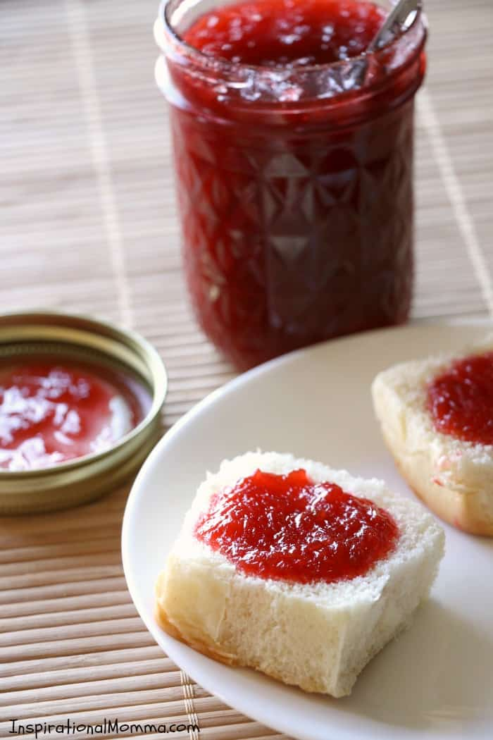 This 3-Ingredient Raspberry Rhubarb Freezer Jam comes together quickly and disappears even quicker! The perfect combination of flavors in yummy on toast, ice cream, or with a spoon!
