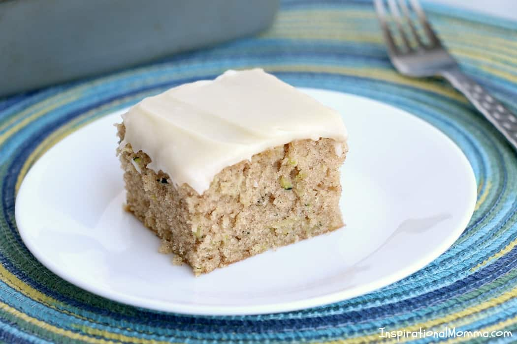 This soft, moist Homemade Zucchini Cake with Cream Cheese Frosting is a perfect dessert for any occasion! Homemade and delicous, just like grandma's!