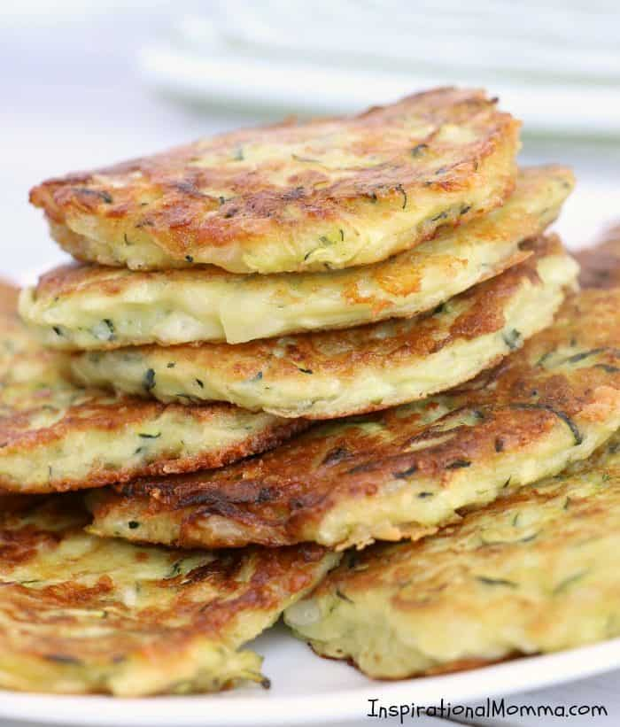 Low-Carb Zucchini Patties are a delicious side dish that you will make again and again...healthy, light, and filled with flavor. #inspirationalmomma #zucchini #patties #healthy #lowcarb #ketogenics #keto #sidedish