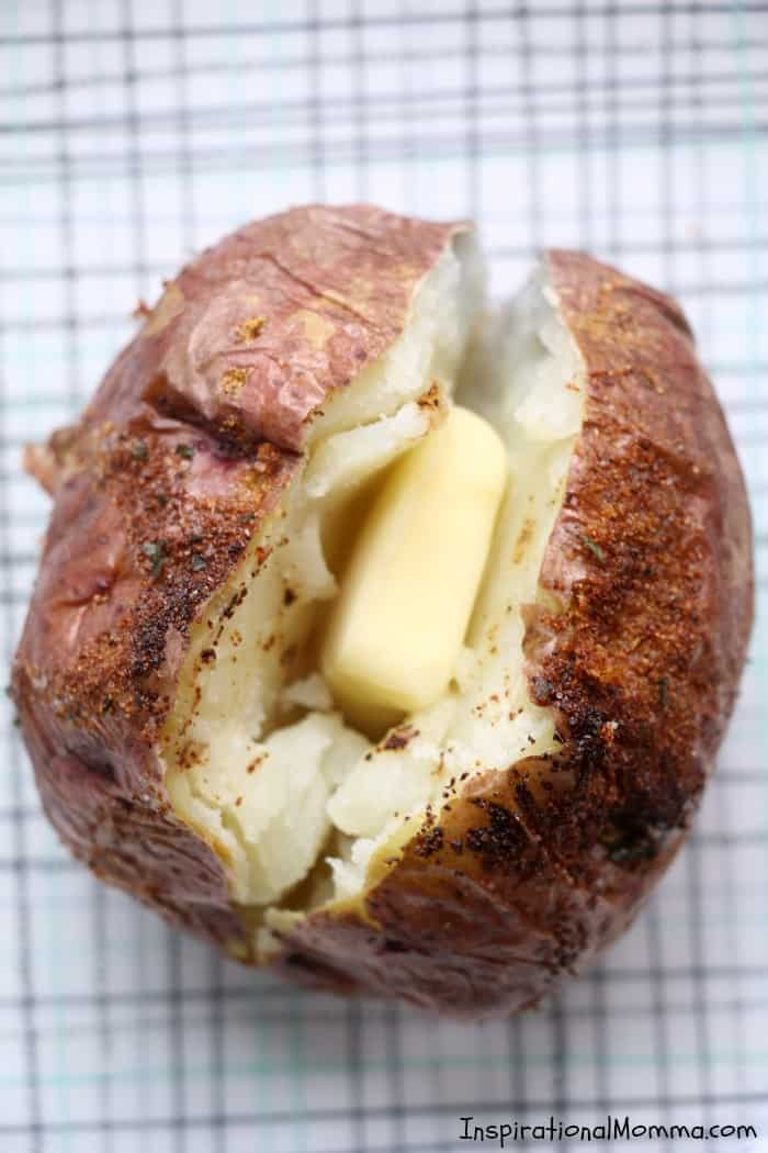 Easy Air Fryer Baked Potatoes are drizzled with olive oil and sensationally seasoned. Cooked to perfection in your Air Fryer, you will make them again and again! #InspirationalMomma #AirFryer #bakedpotatoes #potatoes #baked #quick #easy