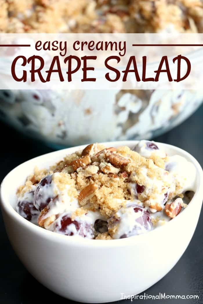 Easy Creamy Grape Salad is a sweet, flavorful dessert with just the right amount of crunch! Easy, creamy, and delicious...everyone will fall in love!