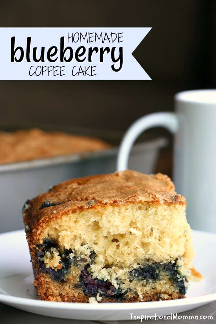 Homemade Blueberry Coffee Cake is a perfectly sweet way to start your day. Light, moist cake topped with just the right amount of sugar!