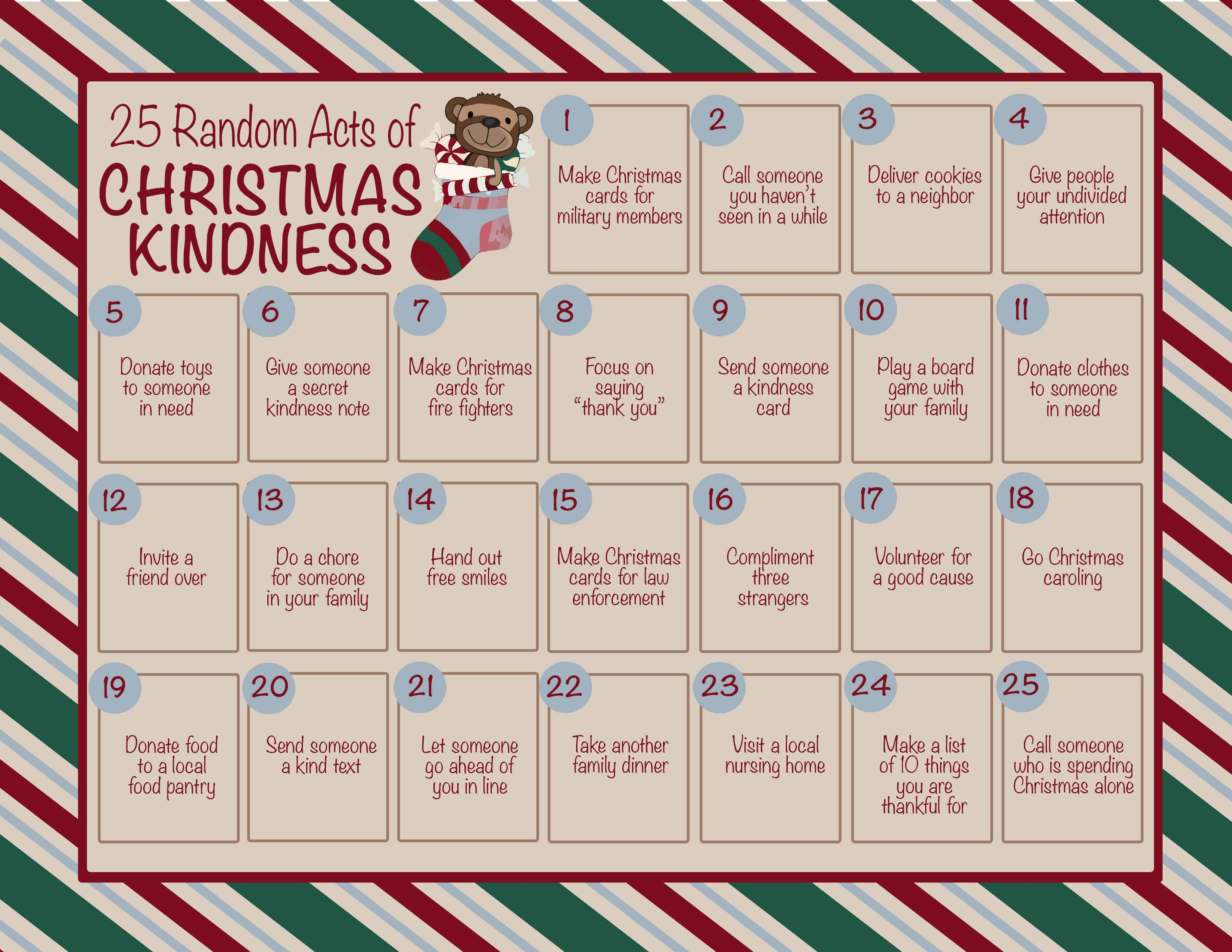 25 Random Acts of Christmas Kindness Calendar Printable - A free printable to help promote kindness this holiday season. Commit to one act of kindness each day, spreading love all around you! #InspirationalMomma #Kindness #FreePrintable #ChristmasCalendar #RandomActsOfKindness #Christmas #PrintableCalendar