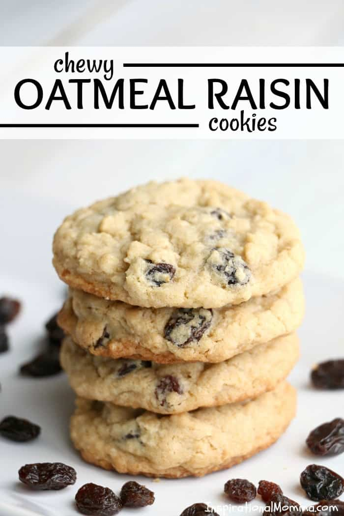 Old-fashioned Chewy Oatmeal Raisin Cookies are definitely a family favorite. Easy to make and even easier to enjoy, these homemade cookies are delicious! #inspirationalmomma #oatmealraisincookies #oatmeal #raisins #cookies #homemade #baking #dessert #desserts