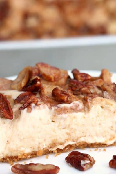 Homemade Apple Pecan Cheesecake - A perfect crust covered with creamy, flavorful cheesecake, topped off with an apple-pecan combination that will make you smile! #inspirationalmomma #homemadeapplepecancheesecake #apple #pecan #cheesecake #homemade #baking #baking #dessert #desserts #autumn #fall
