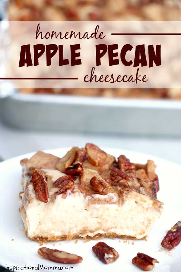 Homemade Apple Pecan Cheesecake is a decadent dessert that wll satisfy everyone's sweet tooth. Homemade, simple, and absolutely amazing! #inspirationalmomma #homemadeapplepecancheesecake #apple #pecan #cheesecake #homemade #baking #baking #dessert #desserts #autumn #fall