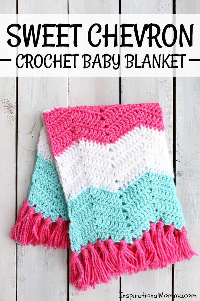 This Sweet Chevron Crochet Baby Blanket Free Pattern will help you create a perfect gift for someone special. Using simple crochet stitches, this pattern is great for beginning crocheters! #InspirationalMomma #CrochetBabyBlanket #BabyBlanket #Crochet #Blanket #FreePattern #Pattern #Handmade #Homemade #DIY