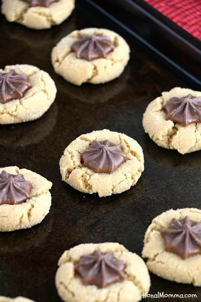Traditional Peanut Butter Blossoms are soft, chewy, and tasty. They are quick and easy cookies that turn out perfect every time! A classic sweet treat! #InspirationalMomma #PeanutButterBlossoms #PeanutButter #Cookies #Desserts #Christmas #ChristmasCookies