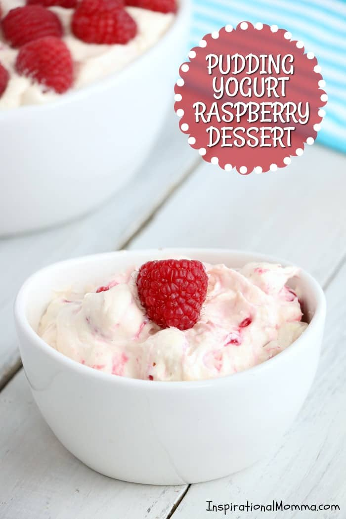 Sweet, creamy, and fluffy, this PUDDING YOGURT RASPBERRY DESSERT is filled with fresh, delicious flavors that everyone will love! #InspirationalMomma #YogurtPuddingRaspberryDessert #Dessert #Desserts #Yogurt #Pudding #Raspberry #Raspberries