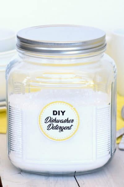 DIY Dishwasher Detergent will leave your dishes sparkly clean while saving you money. Homemade with just 4 ingredients, you will never use store-bought again! #inspirationalmomma #diydishwasherdetergent #dishwasher #detergent #diy #homemade #soap