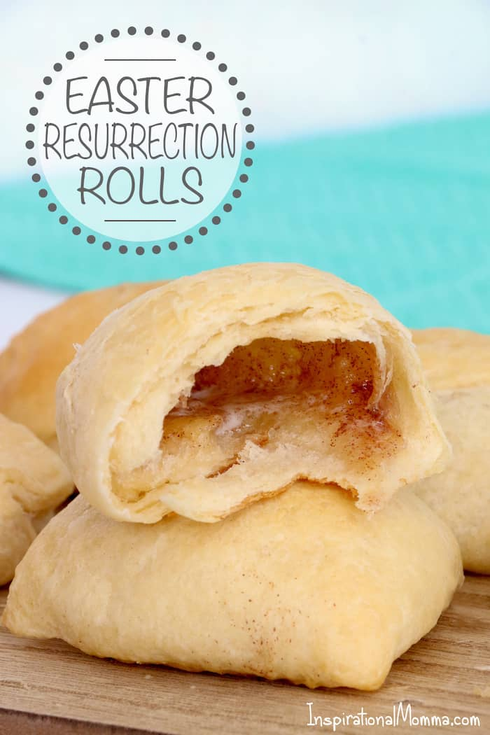 Easter Resurrection Rolls are a delicious way to share the Easter story with your family...flaky crescent rolls filled with sweet marshmallow goodness! #inspirationalmomma #resurrectionrolls #easter #rollrecipe #recipe #baking