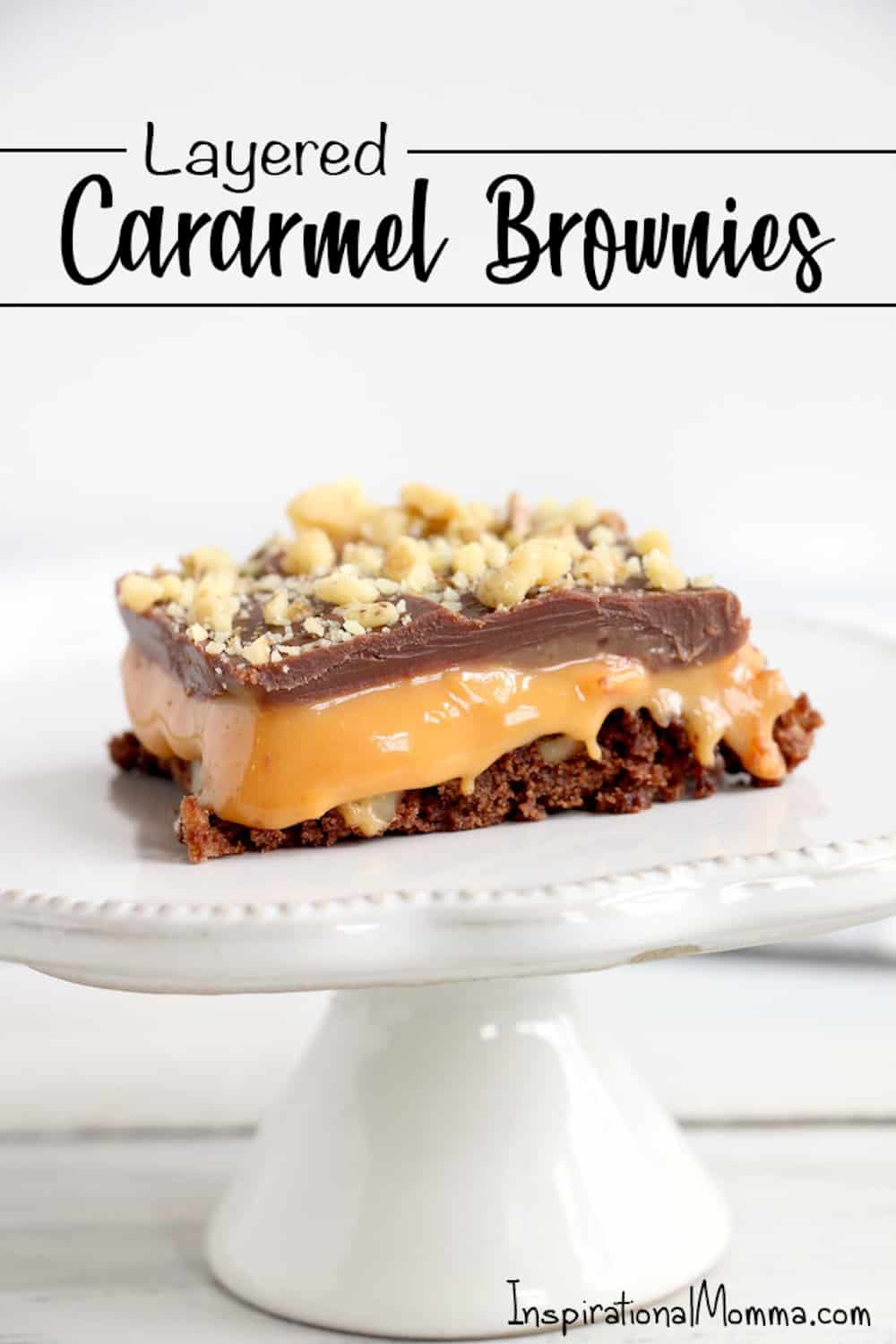 These Layered Caramel Brownies have it all. A chewy brownie crust and a gooey caramel middle, all finished off with a milk chocolatey top! #inspirationalmomma #caramelbrownies #layered #dessert #desserts #recipe #caramel #chocolate #brownies