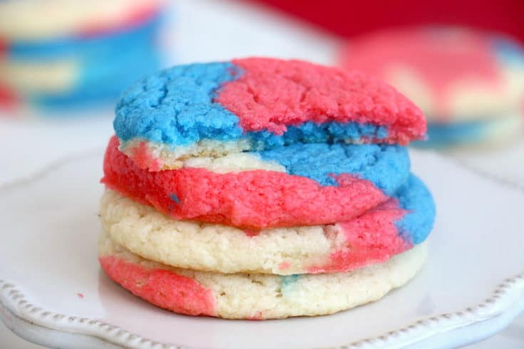 With only three ingredients, Red White and Blue Cake Mix Cookies are an easy way to show your American pride. These cookies are soft, chewy, and delicious! #inspirationalmomma #redwhiteblue #cakemixcookies #cakebattercookies #cookies #dessert #desserts #recipe #patriotic #American #MemorialDay #4thofJuly