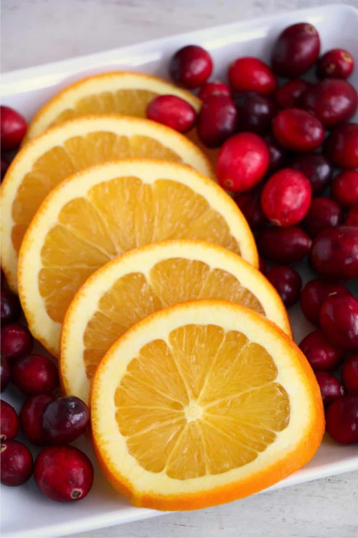 Cranberries and orange slices
