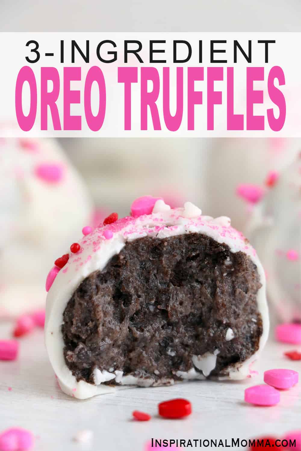 No baking required to make these 3-Ingredient Oreo Truffles. They are easy to make and taste delicious. Simple Oreo balls are sure to impress! #InspirationalMomma #nobakeoreotruffles #nobakedesserts #oreotruffles #desserts #oreodesserts