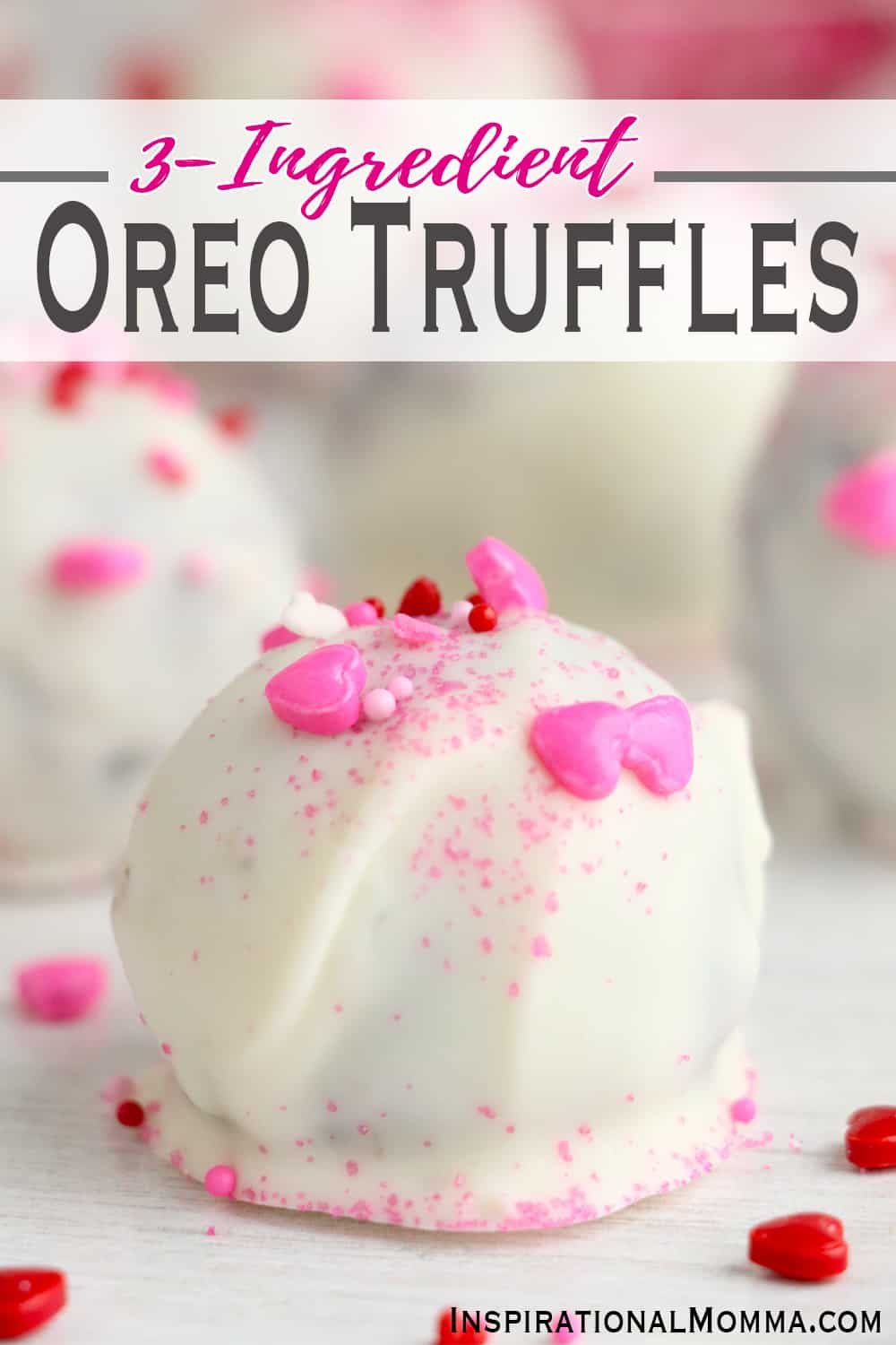No baking required to make these 3-Ingredient Oreo Truffles. They are easy to make and taste delicious. Simple Oreo balls are sure to impress! #inspirationalmomma #oreotruffle #truffle #nobaketruffle #nobake #dessert #nobakedessert