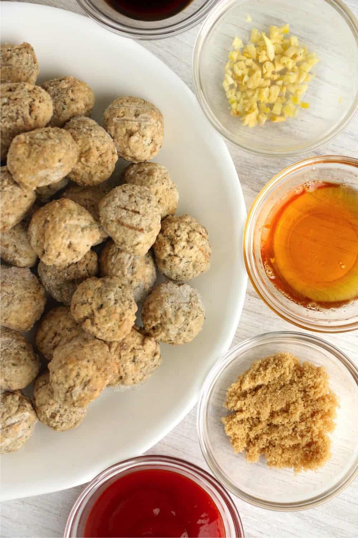 Ingredients for honey garlic meatballs.