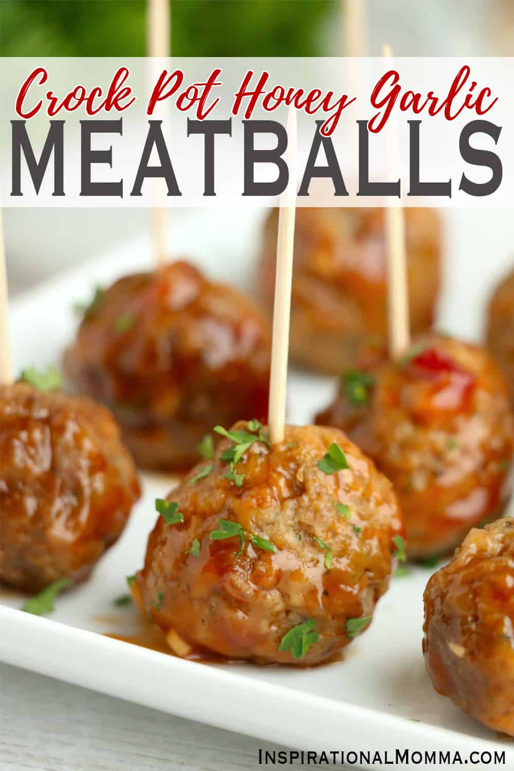 Crock Pot Honey Garlic Meatballs are packed with flavor and are easy to make! Appetizer or main course, they are delicious! #inspirationalmomma #crockpothoneygarlicmeatballs #honeygarlicmeatballs #meatballs #appetizers #appetizerrecipes #recipes