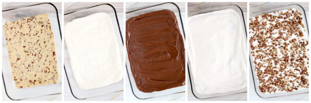 Collage of the steps to make Chocolate Pudding Dessert.