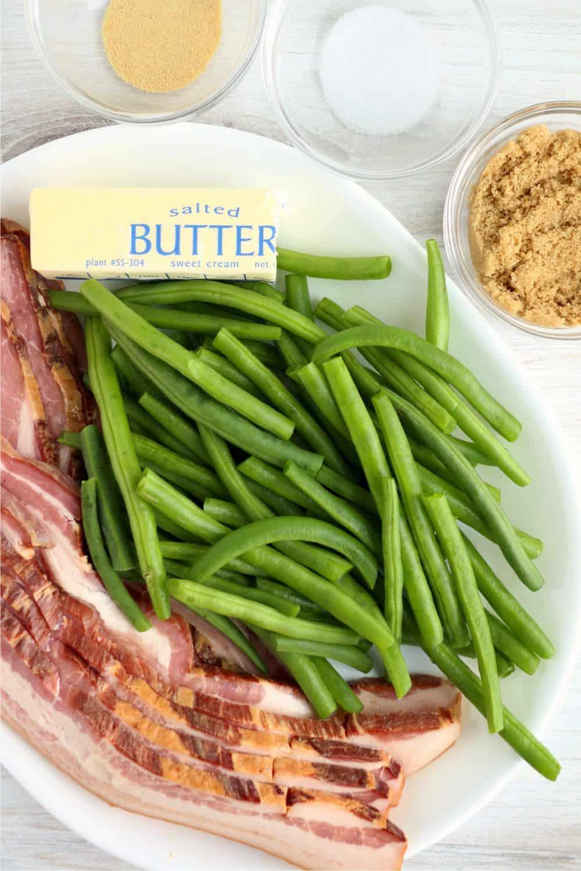 Ingredients for green bean bacon bundles