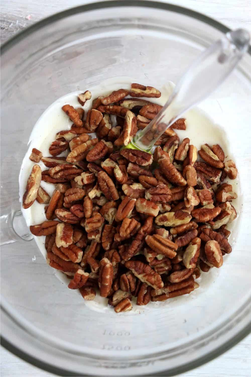 white chocolate and pecans ready to be mixed together
