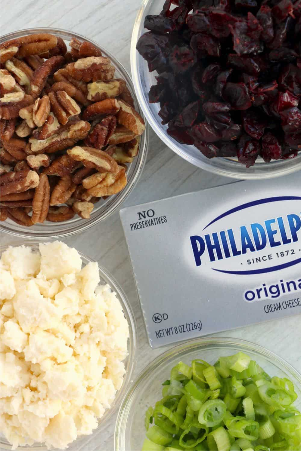 ingredients for cranberry feta cheese dip