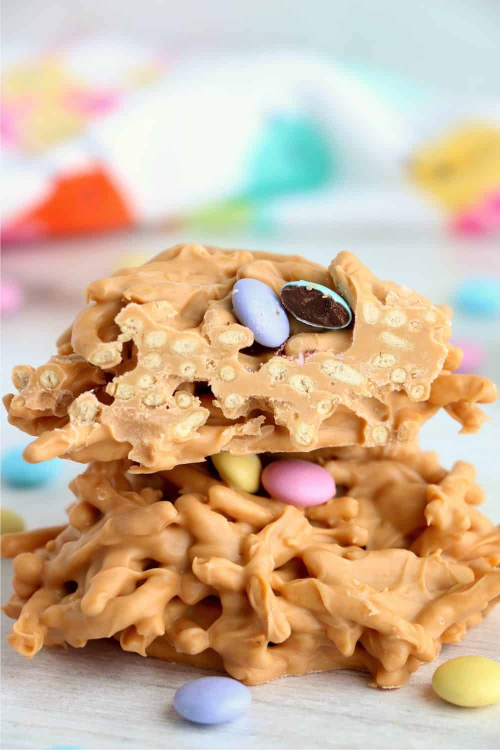 No bake nest cookies in a stack
