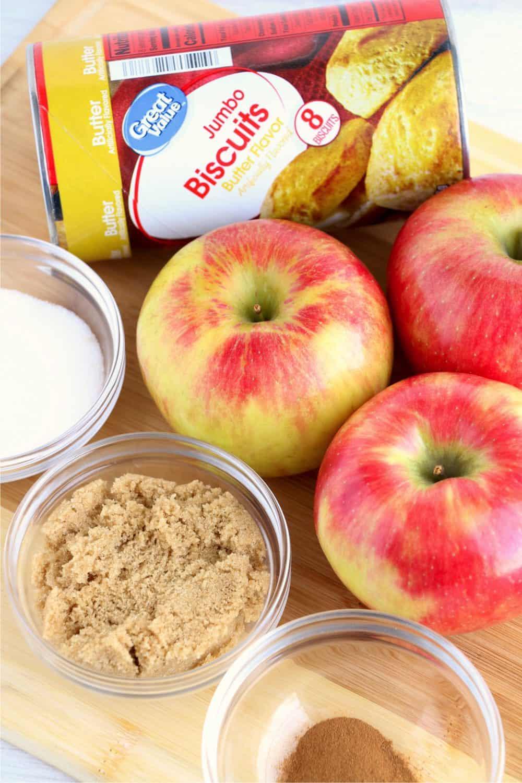 apple danish ingredients: refrigerator biscuits, apples, brown sugar, sugar, cinnamon, caramel sauce