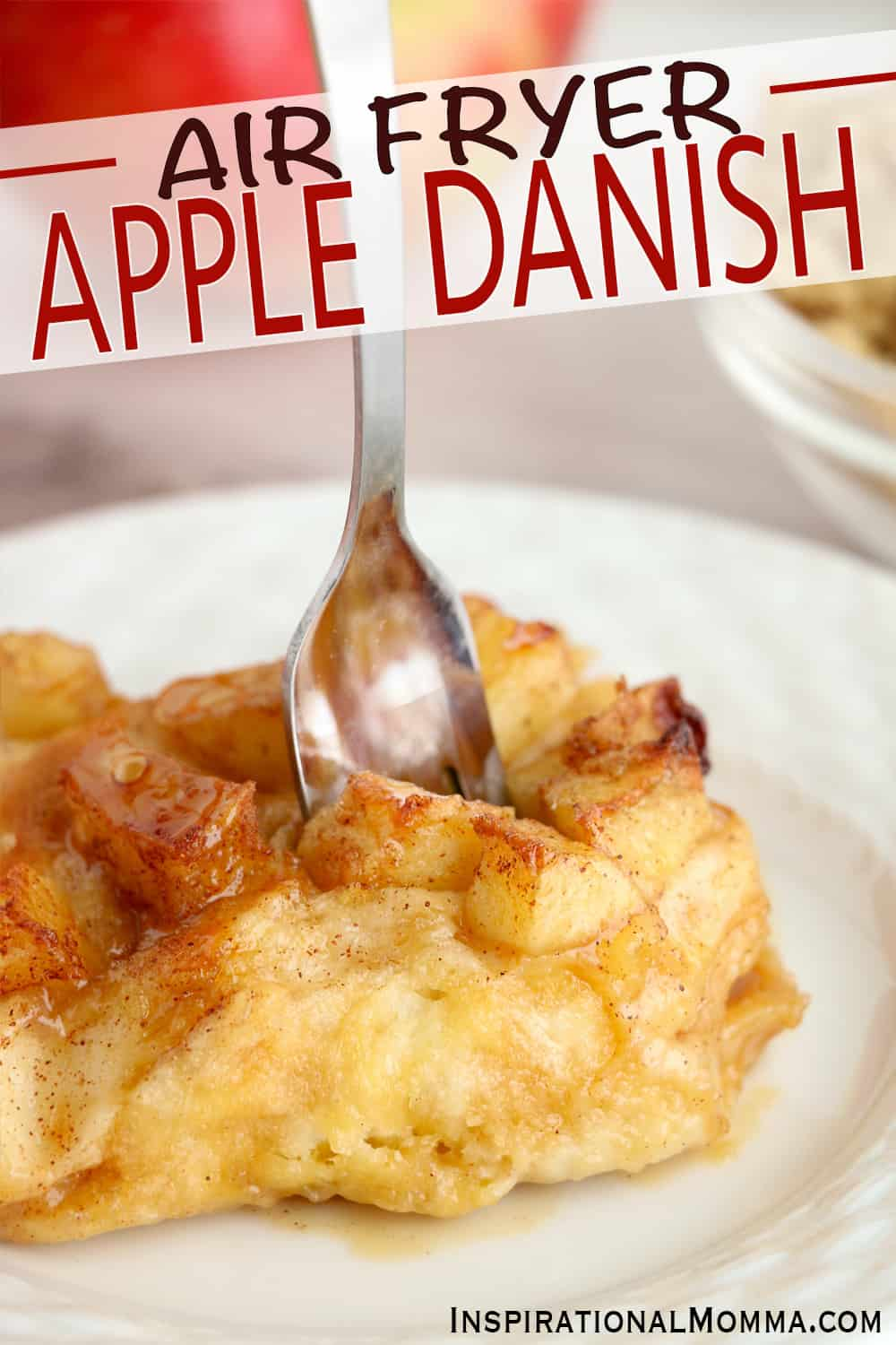 An Air Fryer Apple Danish made quickly with biscuits and fresh apples covered in sweetness. Prepped in 5 minutes, it is a perfect dessert! #inspirationalmomma #airfryerappledanish #airfryerappledesserts #airfryerapplerecipes #airfryerdesserts #airfryerrecipes #appledanish